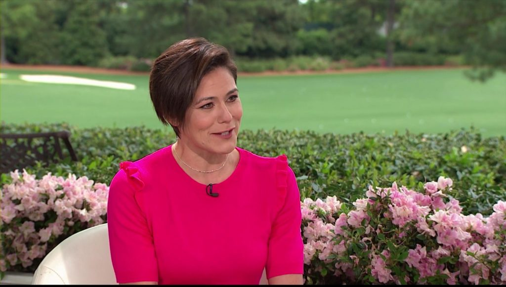 who is female host of the US Masters Golf on BBC